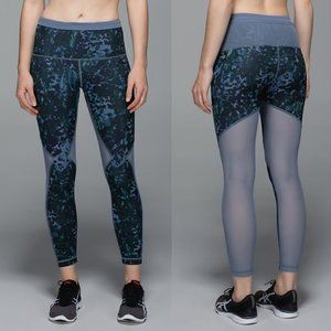 Lululemon Blue Printed High Rise Running In The City 7/8 Tights